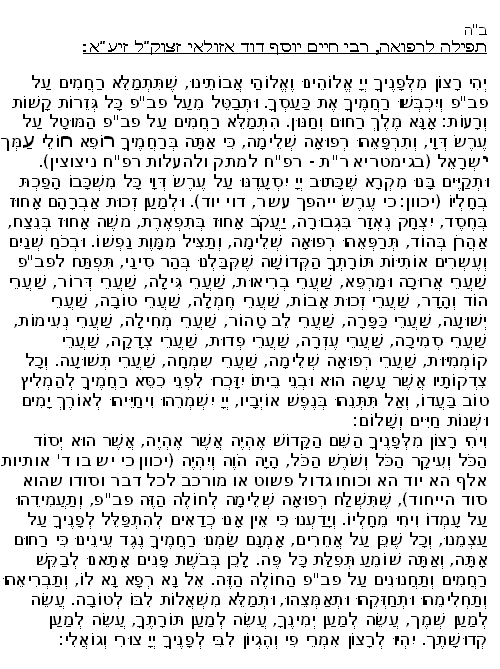 prayer for speedy / complete recovery (refuah shleima)